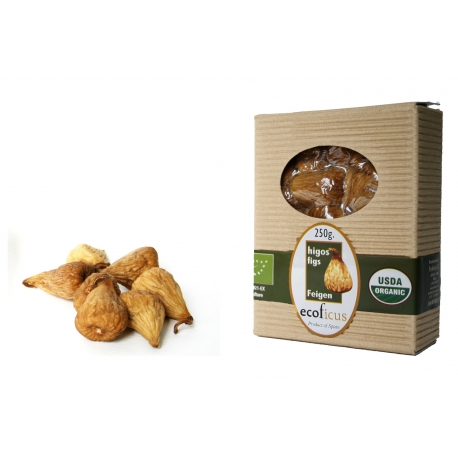 250g Ecoficus organic dried figs in gourmet cardboard box